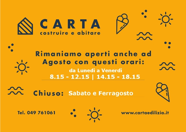 Orari aperutra Agosto - Carta Geom Carlo - Materiali edili a Padova
