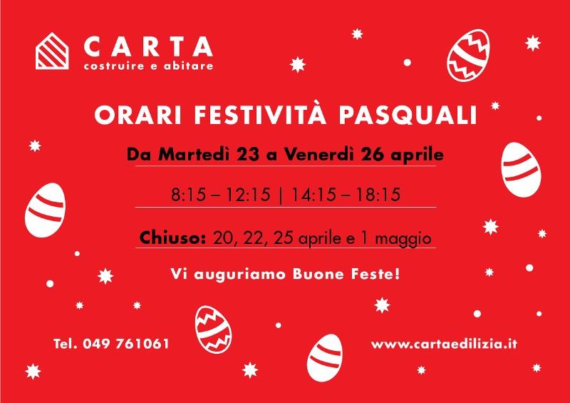 Orari Pasqua 2019 CARTA Geom CARLO srl